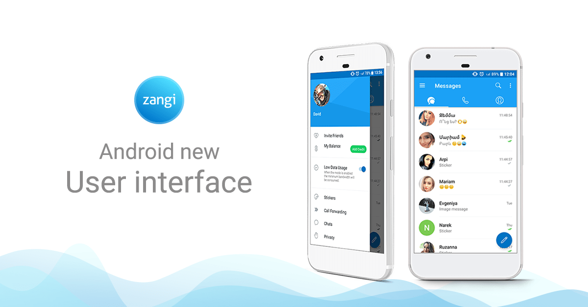 adding credit, zangi messenger update