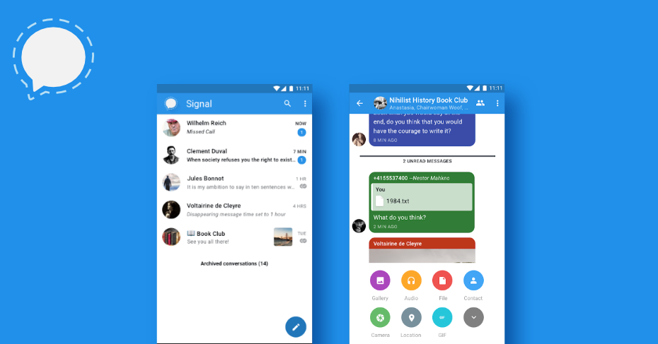 messaging apps for android, signal messenger