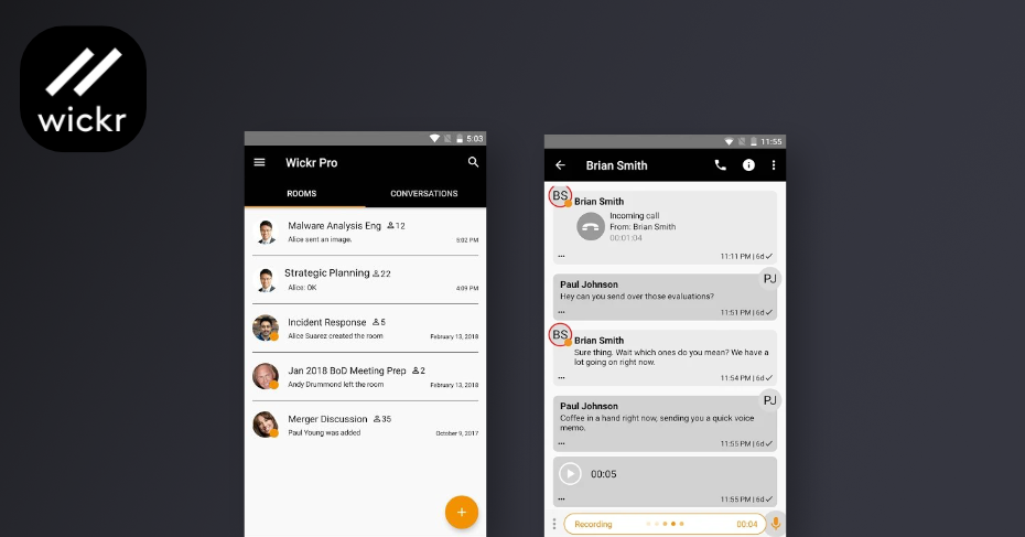 messaging apps for android, wickr-me
