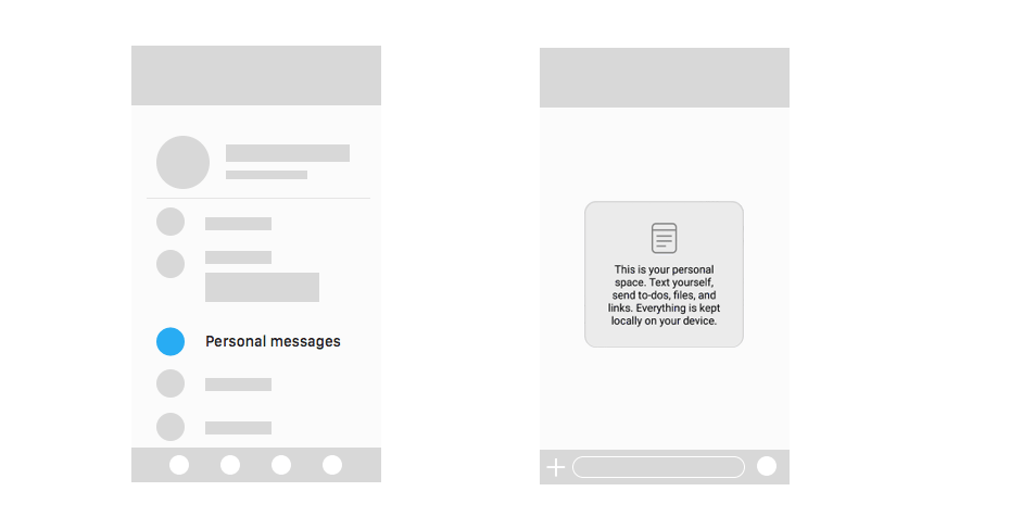messaging app ux design personal messenges