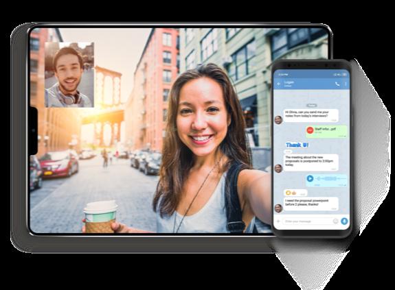 Enterprise messaging app on smartphone and desktop
