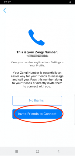 This is your Zangi number screen, what is Zangi number