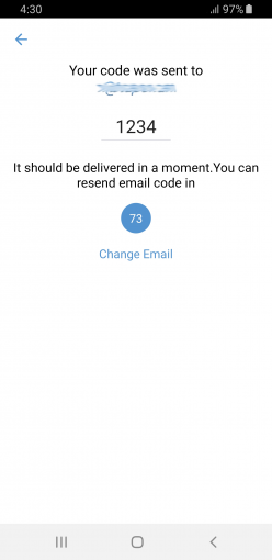 Receive code SMS from Zangi registration